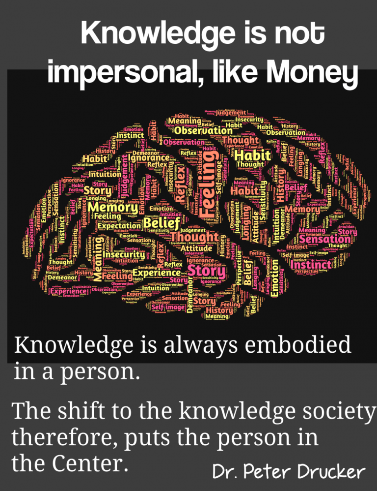 The shift to the knowledge society puts the person in the center because customers are humans.